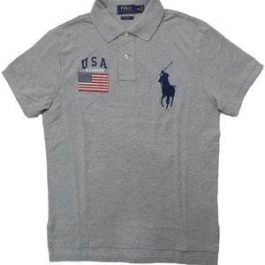 Polo Ralph Lauren USA Flag Big Pony Shirt Grey
